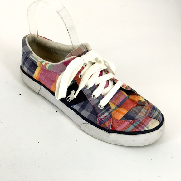 a33343823a34a Polo Ralph Lauren Plaid Lace Up Low Tops Sneakers